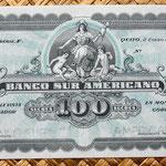 Ecuador 100 sucres 1920 Banco Sur Americano (175x88mm) pk.S254 anverso