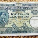 Bélgica 100 francos-20 belgas 1932 anverso