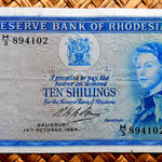 Rodesia 10 shillings 1964 (134x76mm) anverso