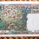 Yibuti ocup. francesa 100 francos 1952 -Tresor Public- anverso