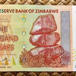 Zimbawe 1000 dollars 2007 anverso