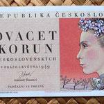 Checoslovaquia 20 korun 1949 anverso