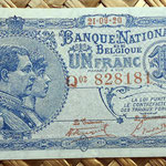 Bélgica 1 franco 1920 anverso