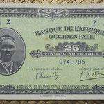 Africa Occidental Francesa 25 francos 1942 (120x70mm) pk.30a anverso