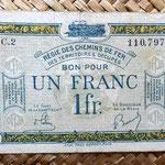 Francia 1 franco 1923 -Régie des Chemins de Fer des Territoires Occupés- anverso