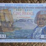San Pedro y Miguelón 5 francos 1950-1960 (104x57mm) pk.22 anverso