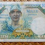 Francia 1000 francos Territorios Ocupados -Tresor Francais 1947 (117x76mm) anverso