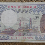 Gabón 1.000 francos 1978 (156x84mm) pk.3d anverso