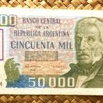 Argentina 50000 pesos resellado 50000 australes 1989 anverso