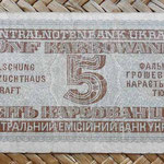 Ucrania ocupación alemana WWII 5 karbovanets 1942 reverso