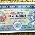 Santo Tomé y Príncipe 50 escudos 1958 resello nuevo Banco Nacional de Santo Tomé 1976 anverso