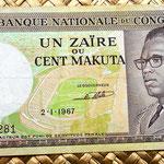 Congo 100 makutas 1967 anverso