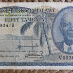 Malawi 50 tambala 1975 (124x68mm) pk.9c anverso