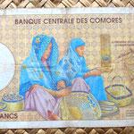 Islas Comores 10000 francos 1997 reverso