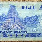 Islas Fiji 20 dollars 1980 (156x67mm) pk.80a reverso