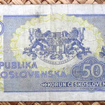 Checoslovaquia 50 korun 1945 reverso