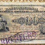 Uruguay 20 centésimos de peso 1887 resello Rio Negro anverso
