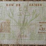 Nueva Caledonia 5 francos 1943 Bono -Tesoro de Noumea (114x70mm) pk.58 reverso