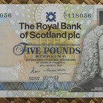 Escocia 5 pounds 1987 (147x78mm) pk.347a anverso