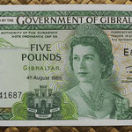 Gibraltar 5 pounds 1988 (145x80mm) pk.21b anverso