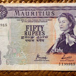 Isla Mauricio 50 rupias 1967 (156x96mm) pk.33c anverso