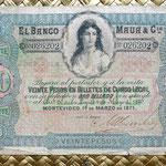 Uruguay 20 pesos oro sellado 1871 Banco Maua&Cia anverso