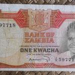 Zambia 1 kwacha 1973 (130x68mm) pk.16a anverso