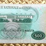 Congo 500 makutas 1967 reverso