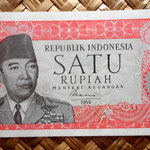 Indonesia 1 rupia 1964 (120x60mm) pk. 80b anverso