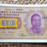 Katanga 10 francos 1960 anverso