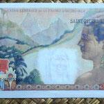 San Pedro y Miguelón 100 francos 1963 resellado 2 NF reverso