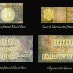 Francia serie billetes Bleu et Rose marcas de agua