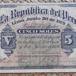 Peru 5 soles 1879 anverso