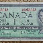 Canada 1 dollar 1954 (152x70mm) pk.74b anverso