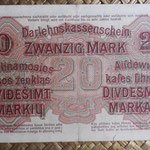 Alemania ocup. Kowno WWI 20 mark 1918 (160x89mm) pk.R131 reverso