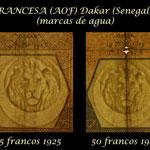 French West Africa -Dakar serie francos 1920-1929 marcas de agua