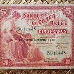 Congo belga 5 francos 1942 (100x80mm) pk.13 anverso