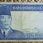 Indonesia 50 rupias 1960 (150x75mm) pk.85a anverso