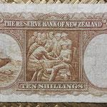 Nueva Zelanda 10 shillings 1940-55 (136x76mm) pk.158a reverso