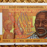 Madagascar 10000 francos - 2000 ariary 1995 (164x74mm) pk.79 anverso