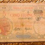 Djibouti 5 francos resello F.C.(France Combattante) con antílope y cruces de Lorena 1943 anverso