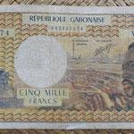 Gabón 5.000 francos 1974 (158x84mm) pk.4a anverso