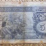 Santo Tomé y Príncipe 50 escudos 1958 pk.37 reverso