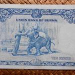 Birmania 10 kyats 1958 pk 48a reverso