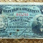 Argentina 5 centavos de peso 1892 anverso