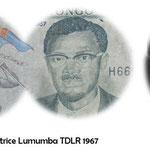 Patrice Lumumba en el billetario de RD Congo y Zaire por TDLR