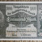 Danzig 1.000 mark 1922 (186x108mm) pk.15 anverso