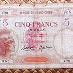 Nueva Caledonia 5 francos 1941 WWII resello France Libre, palmera y cruz de Lorena anverso