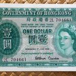 Hong Kong 1 dólar 1956 anverso