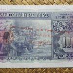 Santo Tomé y Príncipe 100 escudos 1958 sobreimpreso 1976 pk.46 reverso